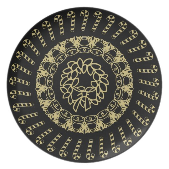 Black and Gold Circular Christmas Pattern Plate