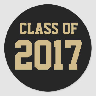 Black and Gold Class of 2017 Graduation Sticker
