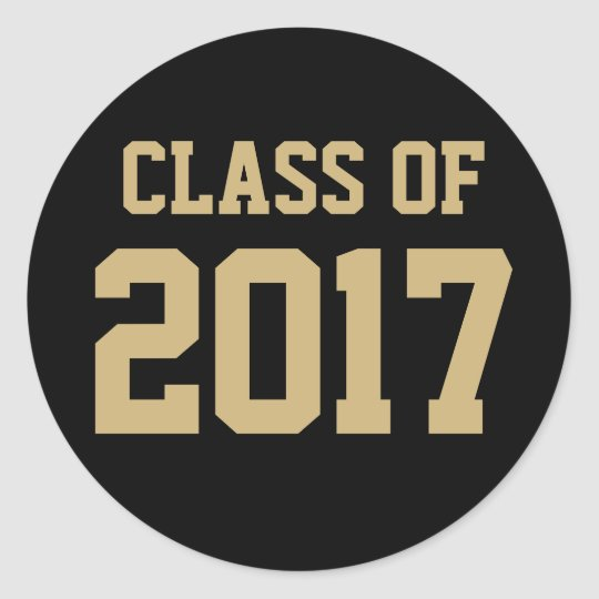 Black and Gold Class of 2017 Graduation Sticker