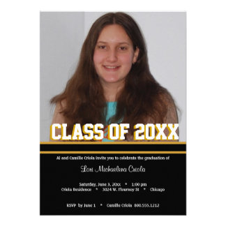 Black and Gold Class Of Graduation Party Invite