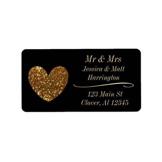 Black and Gold Classy Return Mailing Address Label