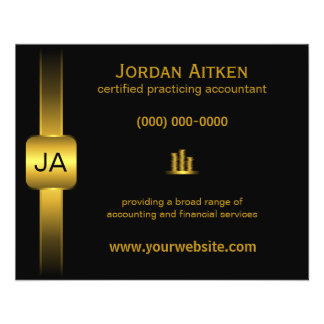 "Black and Gold Coins 4.5"" x 5.6"" Accountant Flyers"