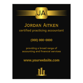 """Black and Gold Coins 8.5"""" x 11"""" Accountant Flyers"""