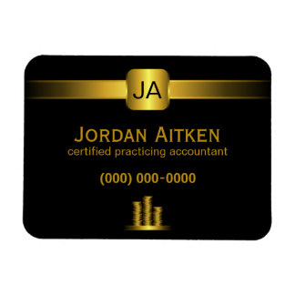 Black and Gold Coins Accountant Small Flexi Magnet