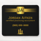 Black and Gold Coins CPA Accountant Mousepad