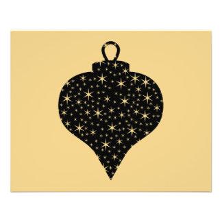 Black and Gold Color Christmas Bauble Design. 11.5 Cm X 14 Cm Flyer