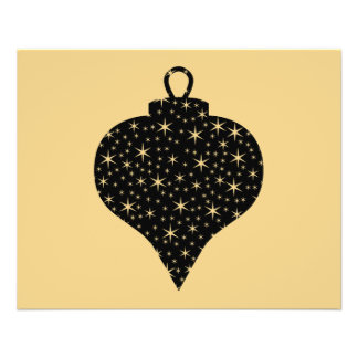 Black and Gold Color Christmas Bauble Design. 11.5 Cm X 14 Cm Flyer