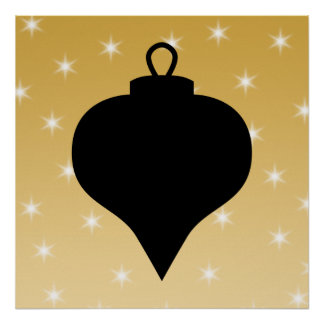 Black and Gold Color Christmas Design. Poster