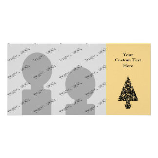 Black and Gold Color Christmas Tree Design. Photo Card Template