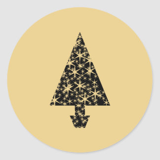 Black and Gold Color Christmas Tree Design. Round Sticker