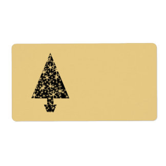 Black and Gold Color Christmas Tree Design. Shipping Label