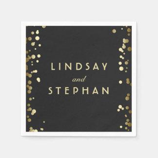 Black and Gold Confetti Dots Wedding Disposable Serviette