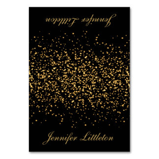 Black and Gold Confetti | Place Cards