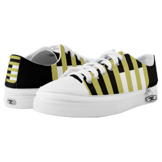 Black and Gold Confined Lo-Top Casual Shoes