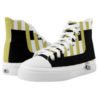 Black and Gold Confined Zipz High Top Shoes Printed Shoes