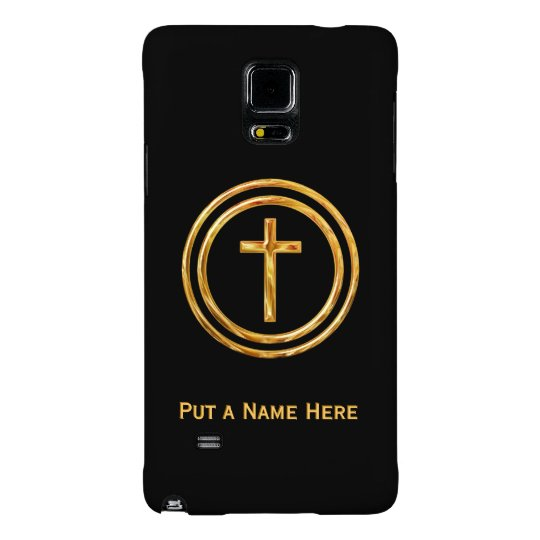 Black and Gold Cross Name Template Galaxy Note 4 Case