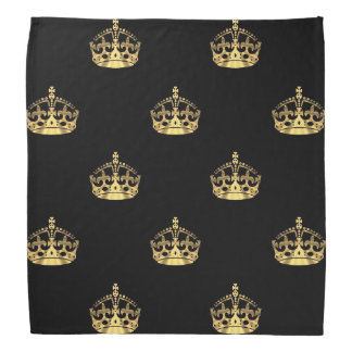 Black and gold crown pattern bandana
