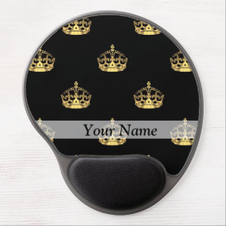 Black and gold crown pattern gel mouse mat