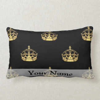 Black and gold crown pattern lumbar cushion