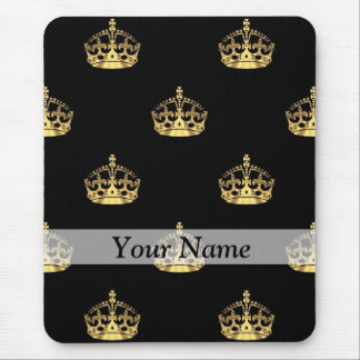 Black and gold crown pattern mouse mat