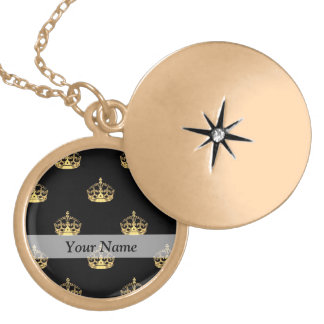 Black and gold crown pattern pendants