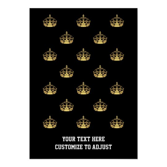 Black and gold crown pattern poster