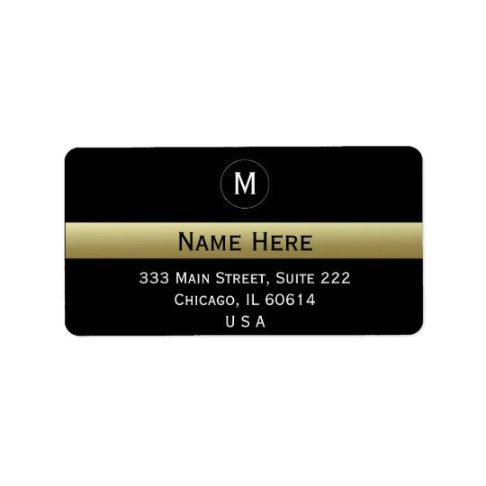 Black And Gold Custom Name Initial Monogram Label