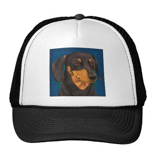 Black and Gold Dachshund Portrait on Blue Trucker Hats