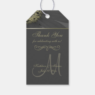 Black and Gold Daisy Monogram Thank You Gift Tags
