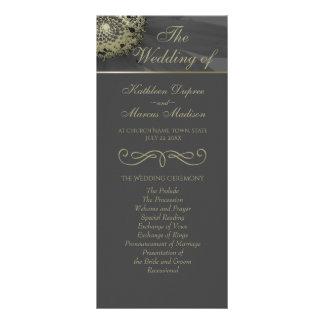 Black and Gold Daisy Monogram Wedding Program Rack Card