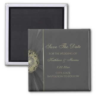 Black and Gold Daisy Save the Date Square Magnet