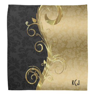 Black And Gold Damask And Gold Swirl Bandana