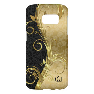 Black And Gold Damask And Gold Swirls