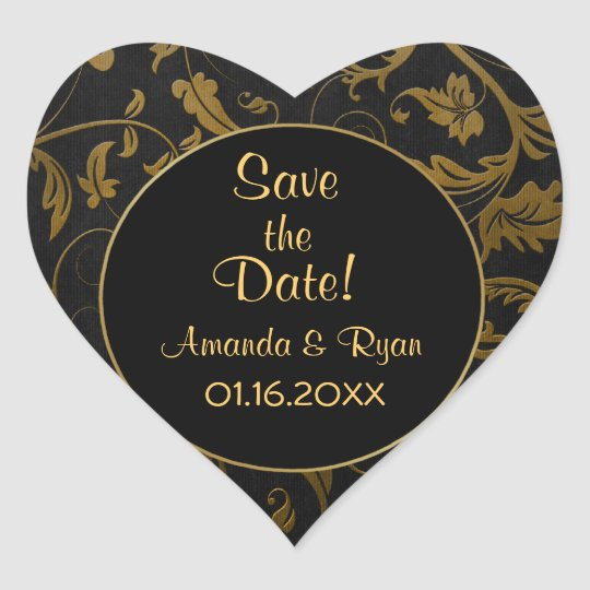 Black and Gold Damask - Save the Date