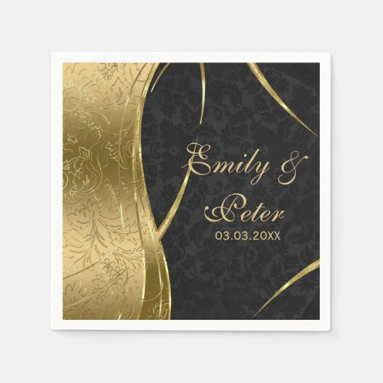 Black And Gold Damask-Save The Date Paper Serviettes