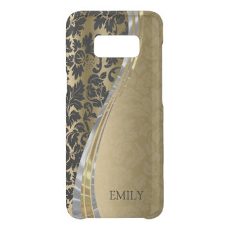 Black And Gold Damask Wave Stripes Uncommon Samsung Galaxy S8 Case