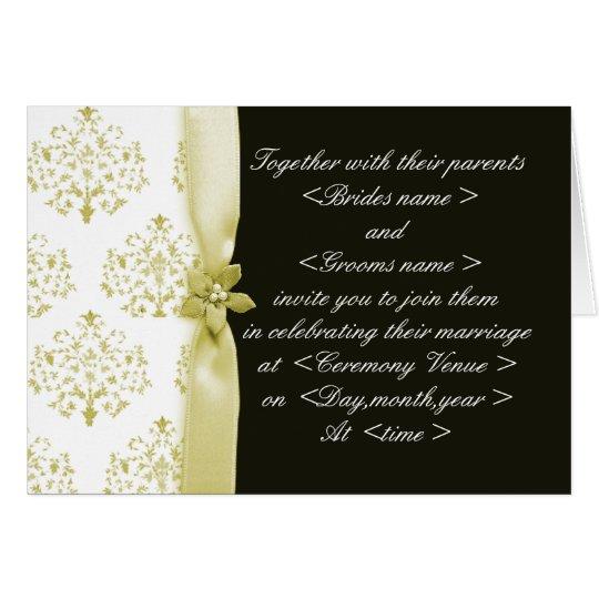 Black and Gold Damask Wedding Invitation Folded