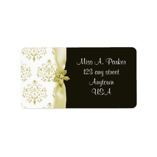 Black and Gold Damask Wedding label