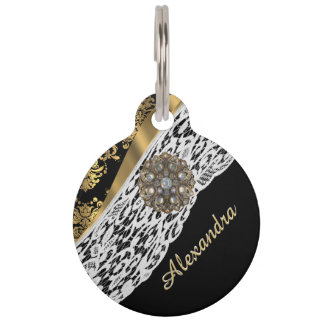 Black and gold damask white lace and crystal pet name tag