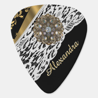 Black and gold damask white lace and crystal plectrum