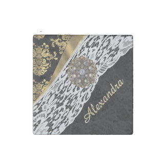 Black and gold damask white lace and crystal stone magnet