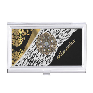 Black and gold damask white lace crystal business card holder