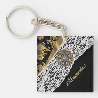 Black and gold damask white lace crystal key ring
