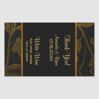Black and Gold Damask -Wine Label Large 4.5 x 2.7