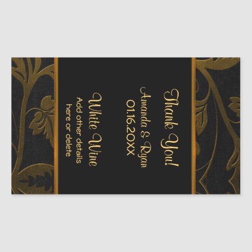 Black and Gold Damask -Wine Label Large 4.5 x 2.7 Sticker
