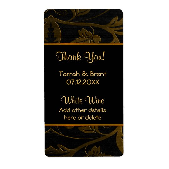 Black and Gold Damask - Wine Label  Medium