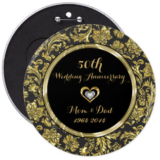 Black And Gold Damasks 50th Wedding Anniversary 2 6 Cm Round Badge