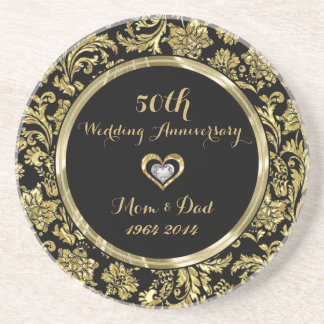 Black And Gold Damasks 50th Wedding Anniversary 2 Beverage Coaster