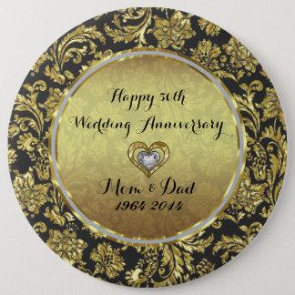 Black And Gold Damasks 50th Wedding Anniversary 6 Cm Round Badge