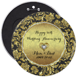 Black And Gold Damasks 50th Wedding Anniversary 6 Cm Round Badge